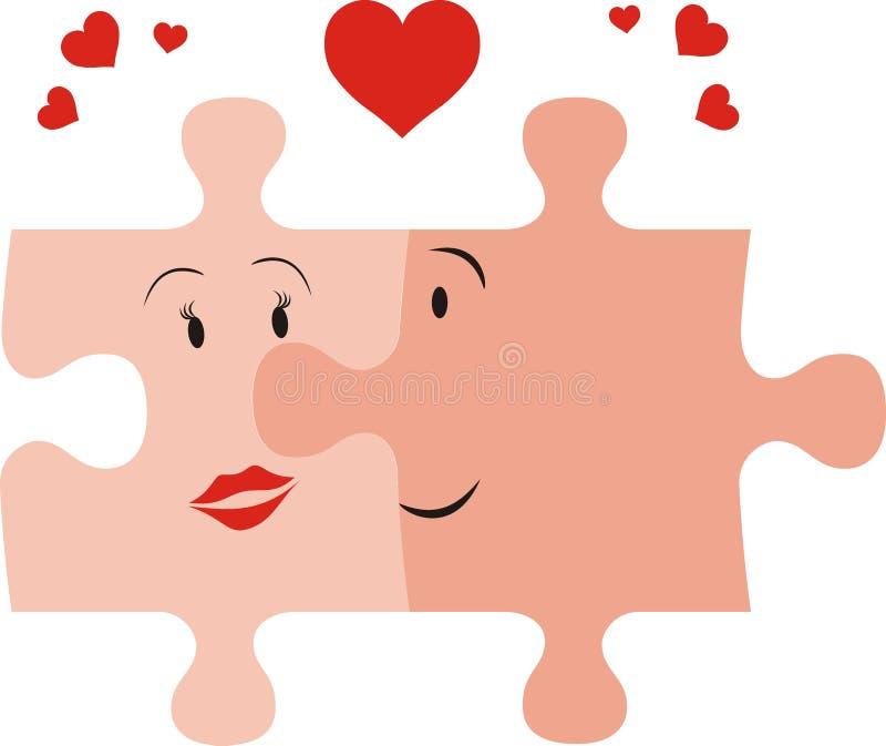 Inlove de couples de puzzle illustration stock