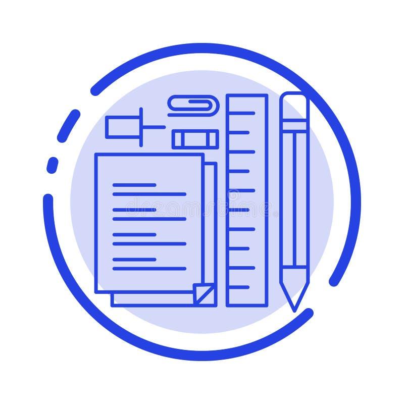 Inmóvil, lápiz, pluma, libreta, icono de Pin Blue Dotted Line Line stock de ilustración