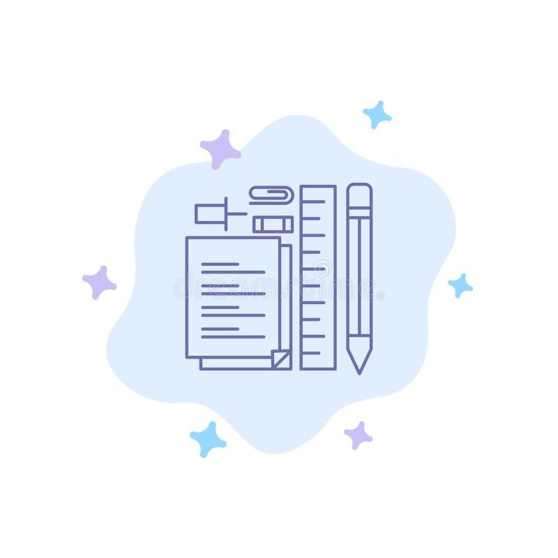 Inmóvil, lápiz, pluma, libreta, Pin Blue Icon en fondo abstracto de la nube ilustración del vector