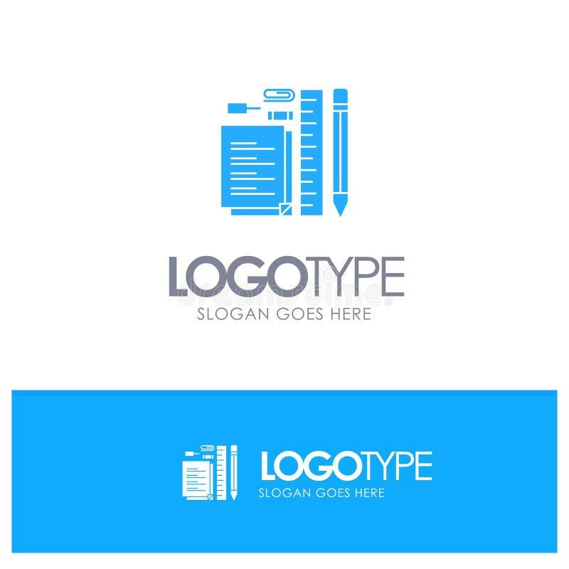 Inmóvil, lápiz, pluma, libreta, Pin Blue Solid Logo con el lugar para el tagline ilustración del vector