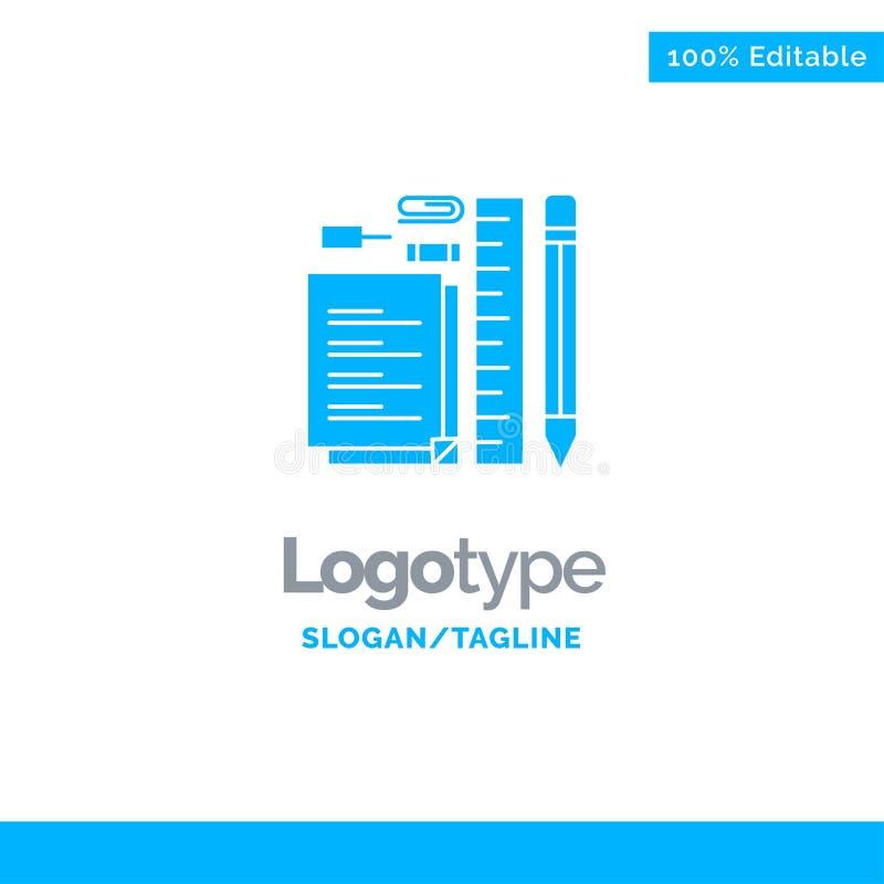 Inmóvil, lápiz, pluma, libreta, Pin Blue Solid Logo Template Lugar para el Tagline libre illustration