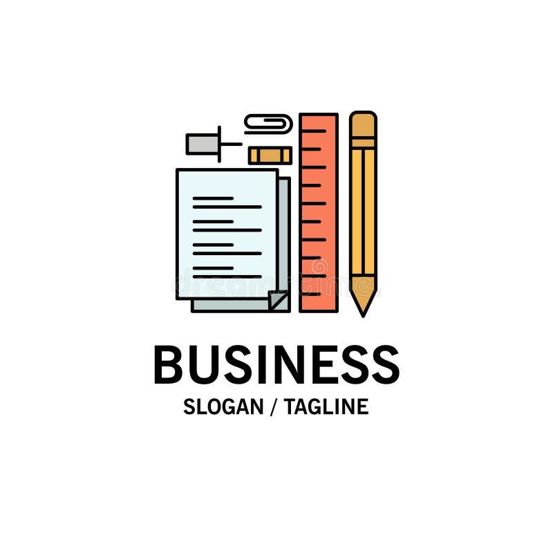 Inmóvil, lápiz, pluma, libreta, Pin Business Logo Template color plano ilustración del vector