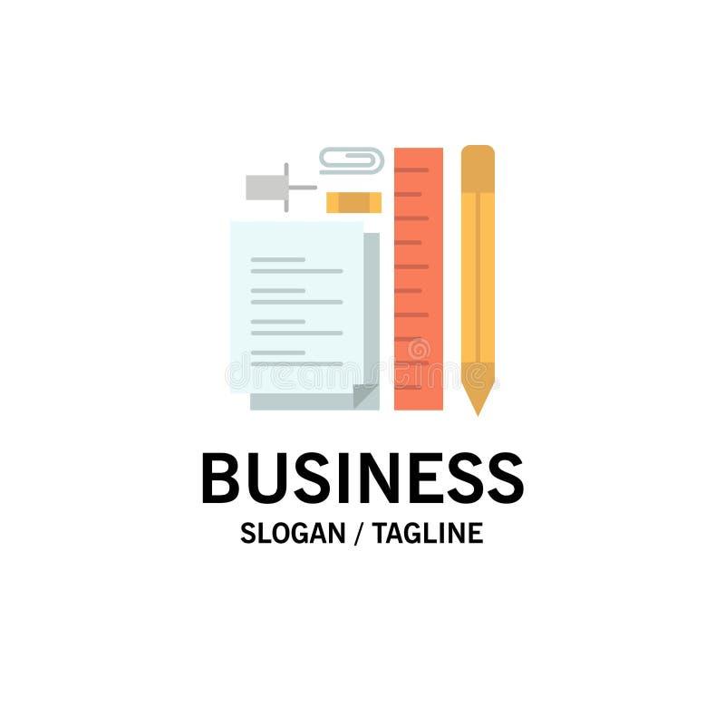 Inmóvil, lápiz, pluma, libreta, Pin Business Logo Template color plano stock de ilustración