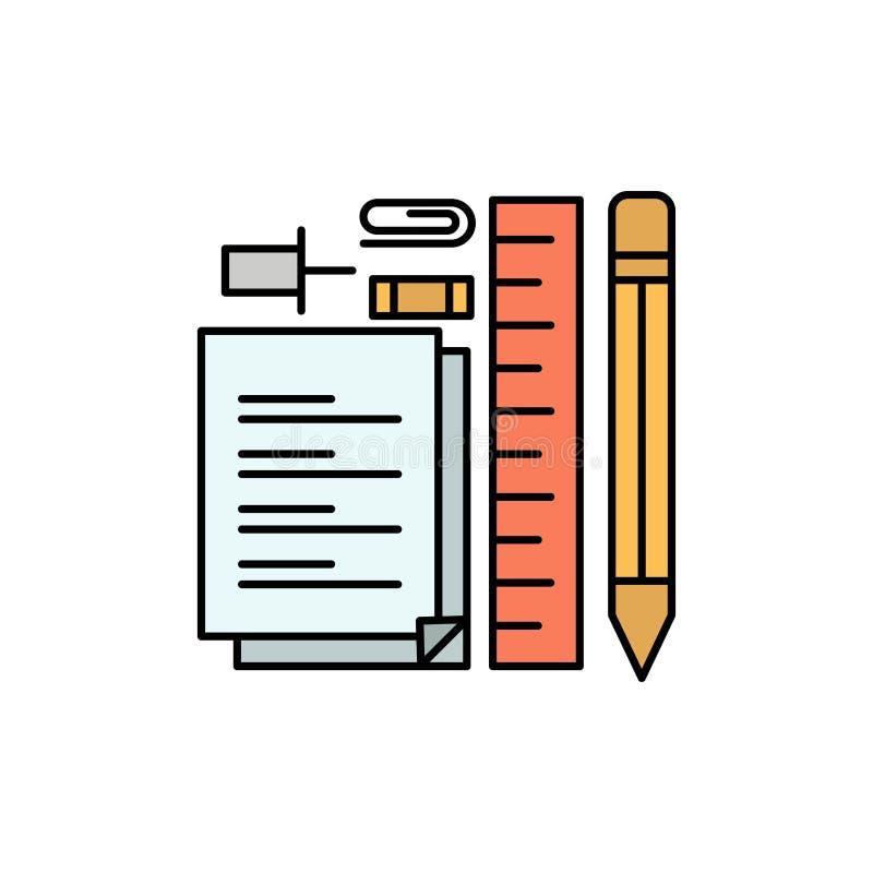 Inmóvil, lápiz, pluma, libreta, Pin Flat Color Icon Plantilla de la bandera del icono del vector ilustración del vector