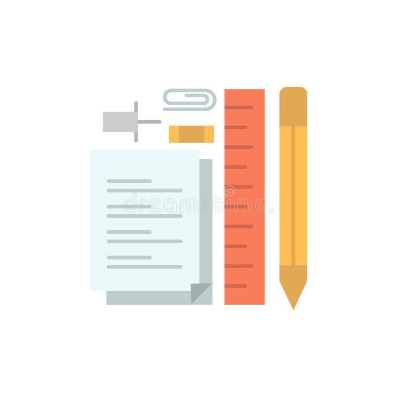 Inmóvil, lápiz, pluma, libreta, Pin Flat Color Icon Plantilla de la bandera del icono del vector stock de ilustración