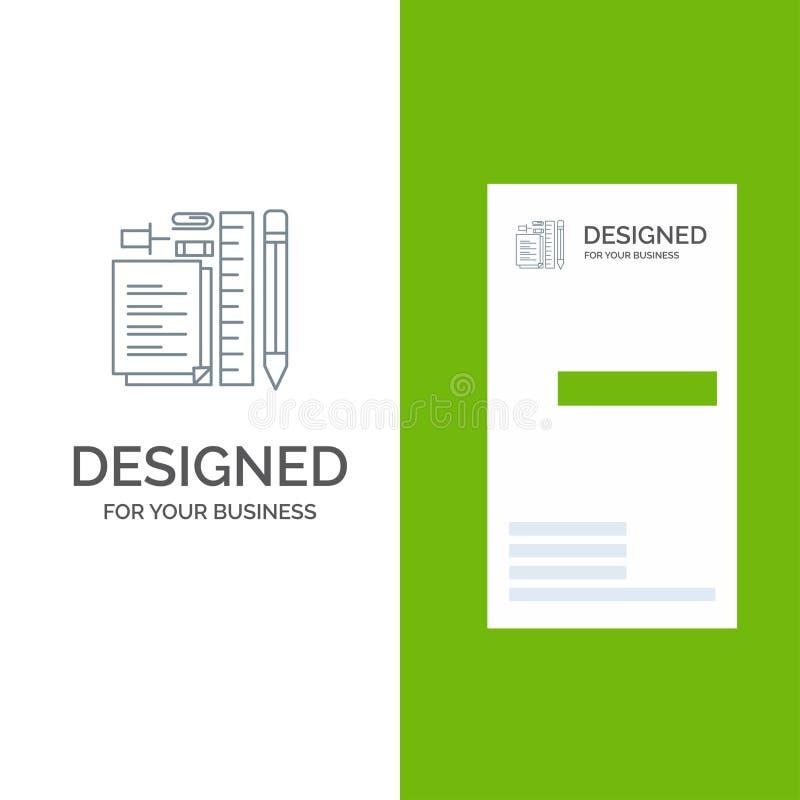 Inmóvil, lápiz, pluma, libreta, Pin Grey Logo Design y plantilla de la tarjeta de visita stock de ilustración