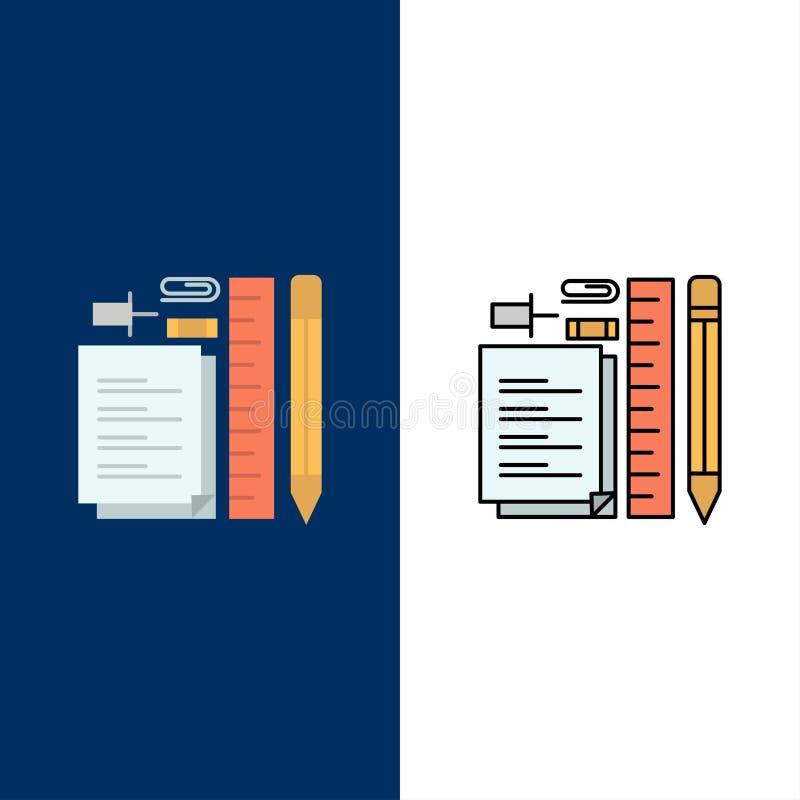 Inmóvil, lápiz, pluma, libreta, Pin Icons El plano y la línea icono llenado fijaron el fondo azul del vector ilustración del vector