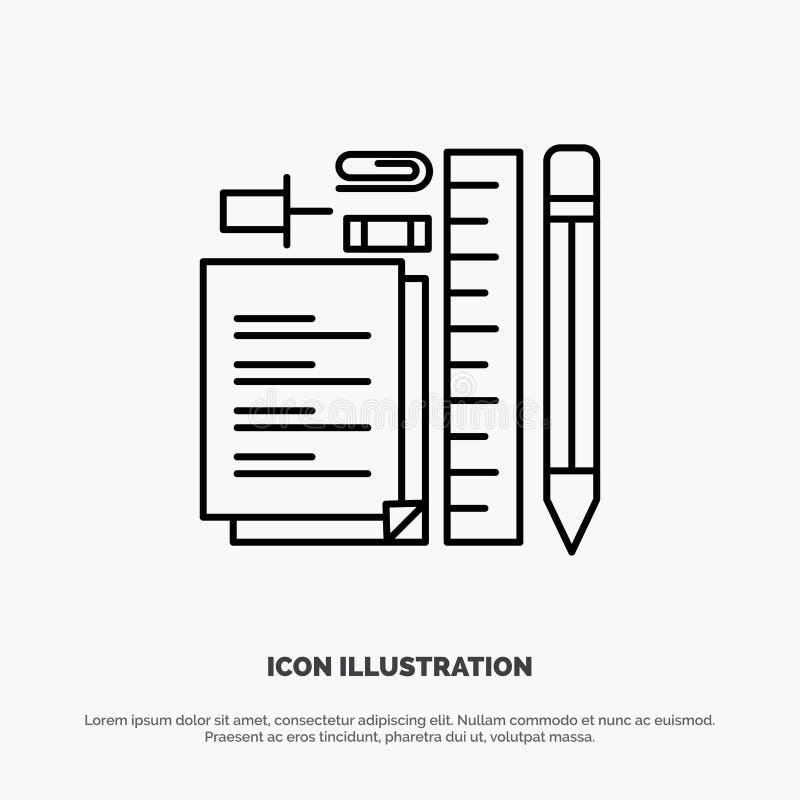Inmóvil, lápiz, pluma, libreta, Pin Line Icon Vector stock de ilustración