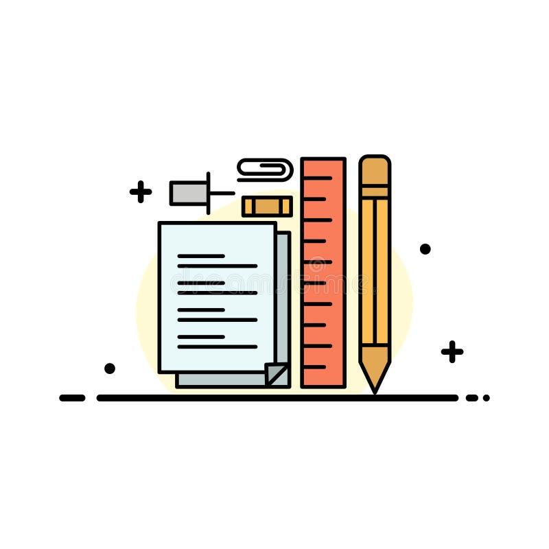Inmóvil, lápiz, pluma, libreta, plantilla de la bandera del vector del icono de Pin Business Flat Line Filled ilustración del vector
