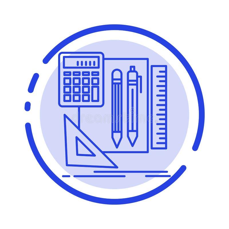 Inmóvil, libro, calculadora, icono de Pen Blue Dotted Line Line stock de ilustración