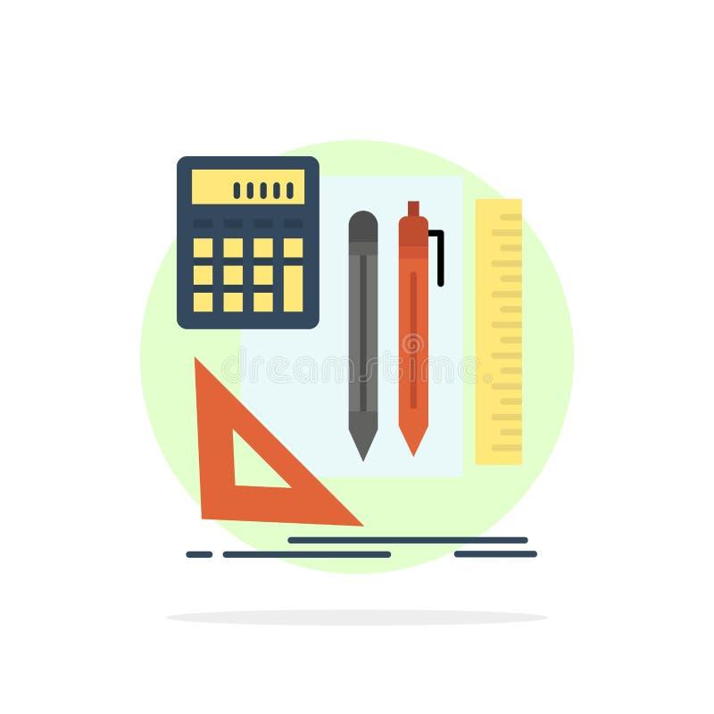 Inmóvil, libro, calculadora, icono del color de Pen Abstract Circle Background Flat ilustración del vector