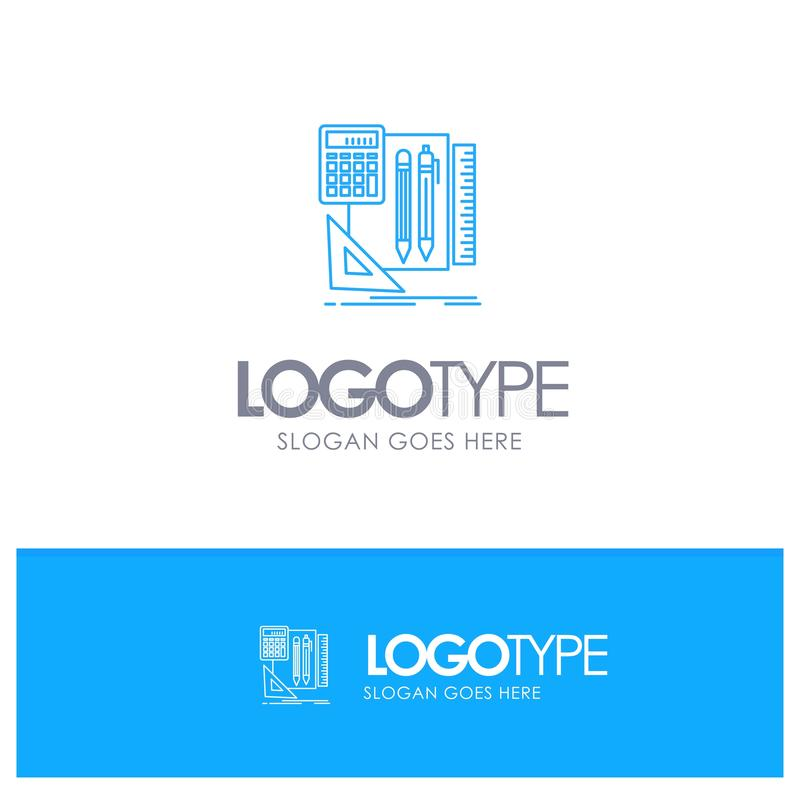 Inmóvil, libro, calculadora, logotipo del esquema de Pen Blue con el lugar para el tagline stock de ilustración