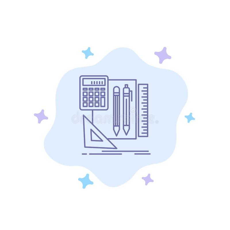 Inmóvil, libro, calculadora, Pen Blue Icon en fondo abstracto de la nube stock de ilustración