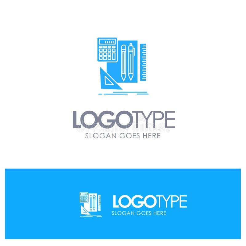 Inmóvil, libro, calculadora, Pen Blue Solid Logo con el lugar para el tagline ilustración del vector