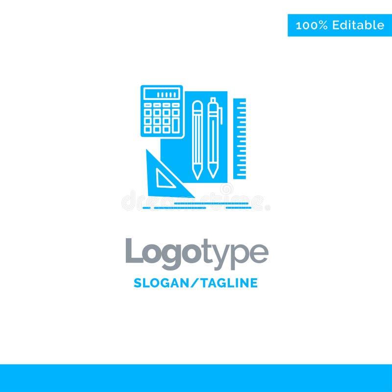 Inmóvil, libro, calculadora, Pen Blue Solid Logo Template Lugar para el Tagline stock de ilustración
