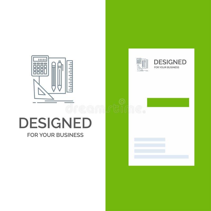 Inmóvil, libro, calculadora, Pen Grey Logo Design y plantilla de la tarjeta de visita libre illustration