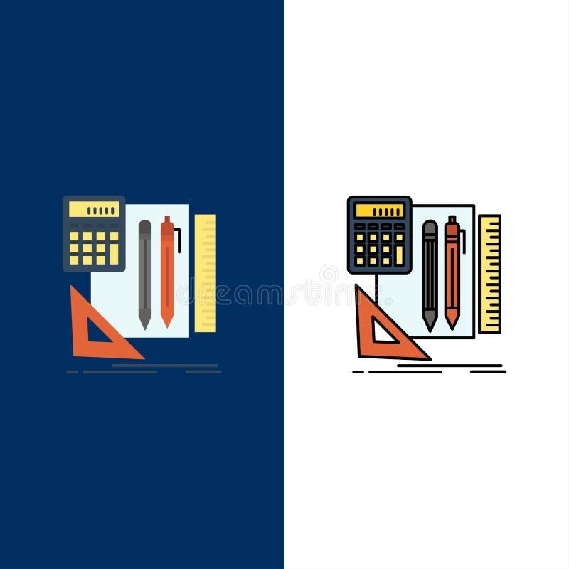 Inmóvil, libro, calculadora, Pen Icons El plano y la línea icono llenado fijaron el fondo azul del vector libre illustration