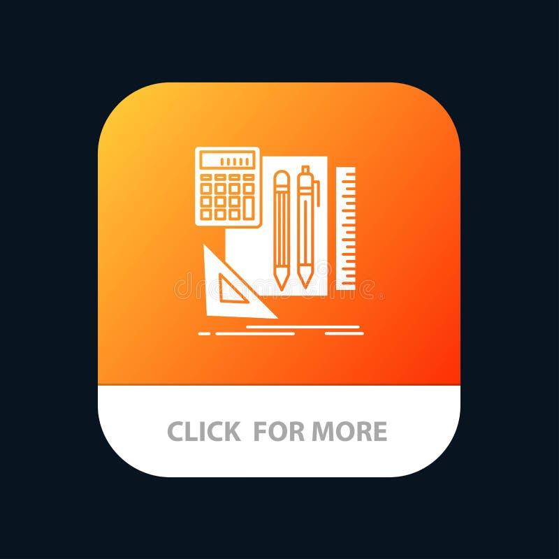 Inmóvil, libro, calculadora, Pen Mobile App Button Android y versión del Glyph del IOS ilustración del vector