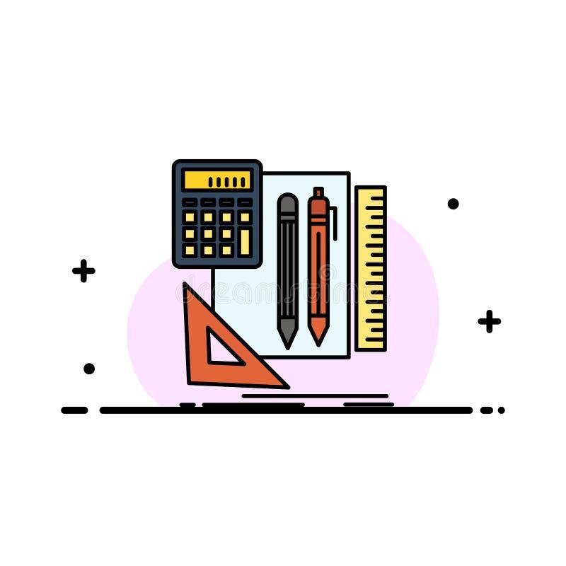 Inmóvil, libro, calculadora, plantilla de la bandera del vector del icono de Pen Business Flat Line Filled stock de ilustración