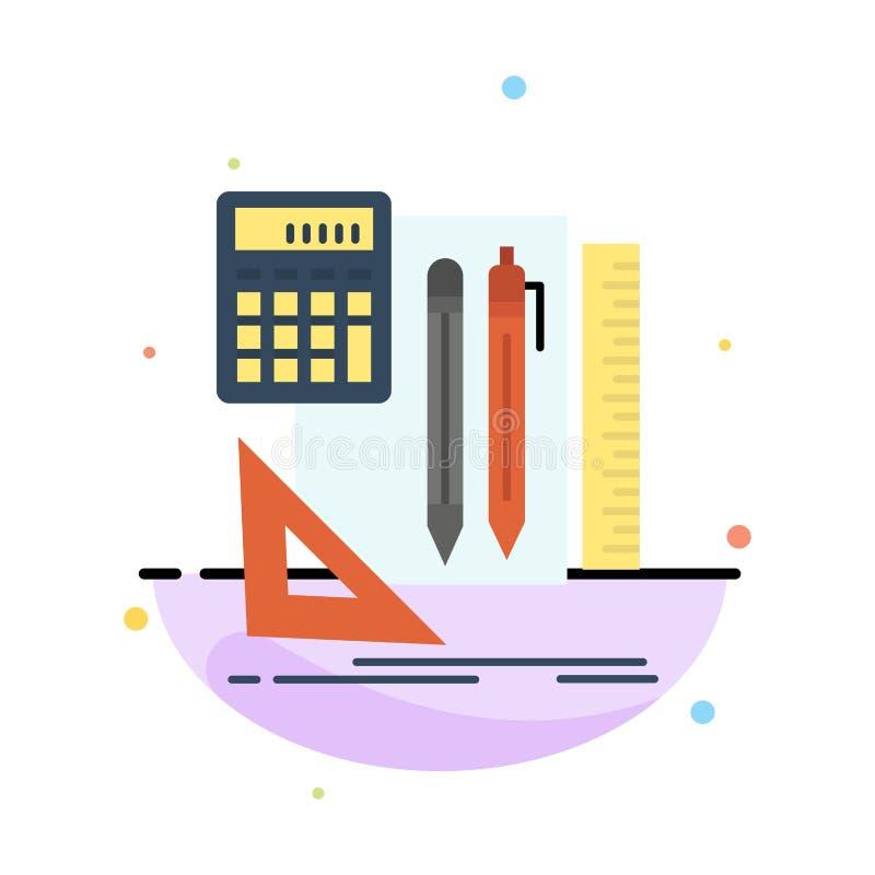 Inmóvil, libro, calculadora, plantilla de Pen Abstract Flat Color Icon stock de ilustración