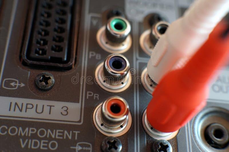 Inmatnings/utmatningspanel på baksidan av en plasmaTV royaltyfria foton