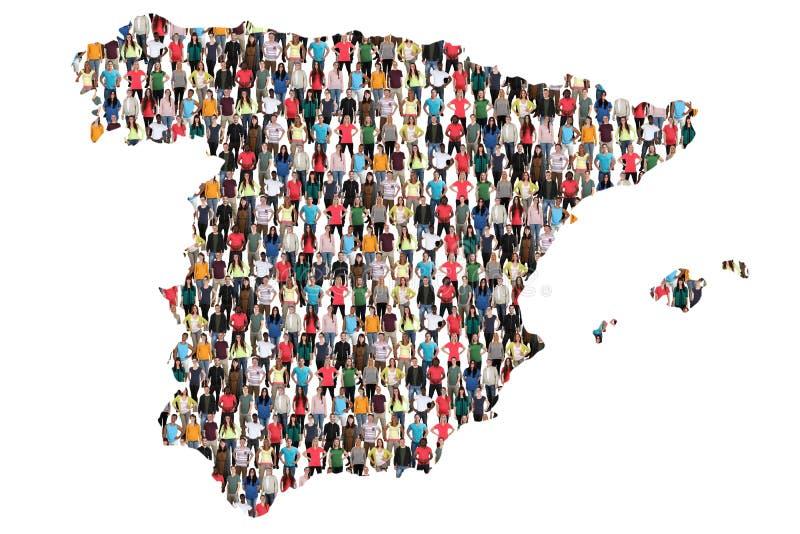 Inmigración multicultural de la integración del grupo de personas del mapa de España imagen de archivo