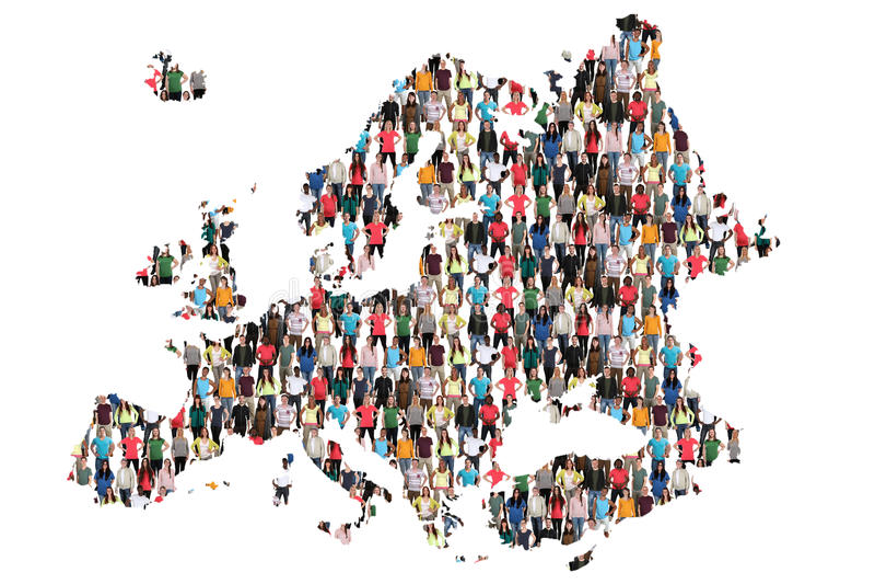 Inmigración multicultural de la integración del grupo de personas del mapa de Europa imagen de archivo libre de regalías