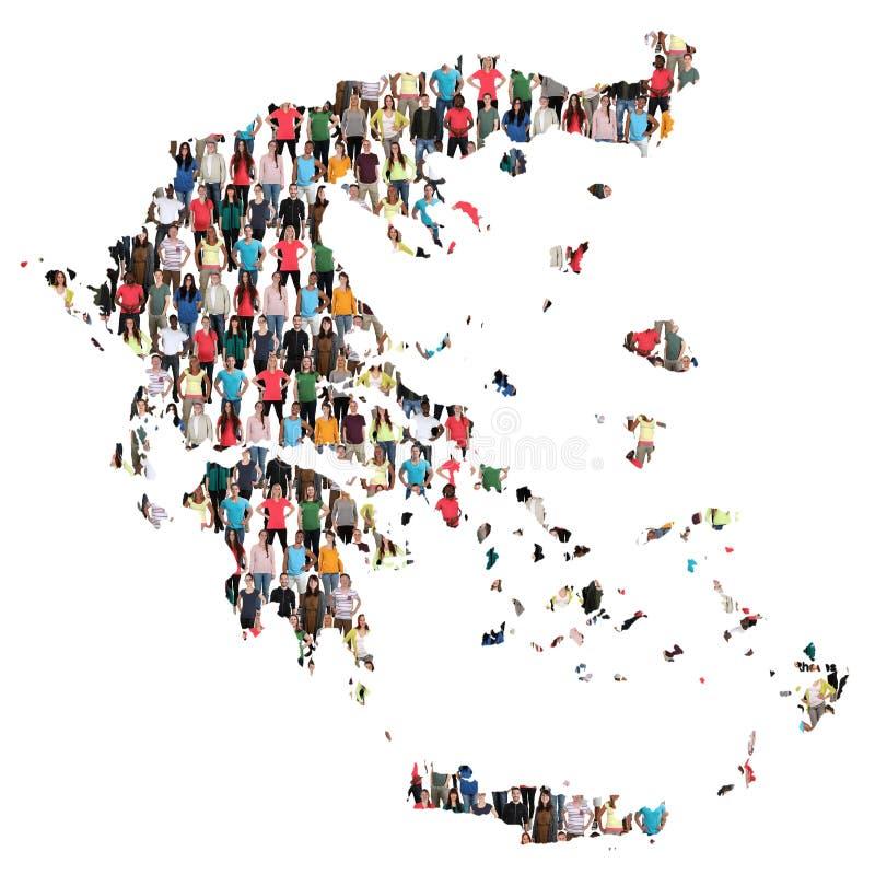 Inmigración multicultural de la integración del grupo de personas del mapa de Grecia foto de archivo libre de regalías