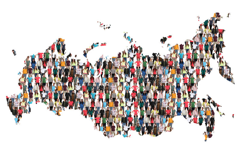 Inmigración multicultural de la integración del grupo de personas del mapa de Rusia foto de archivo