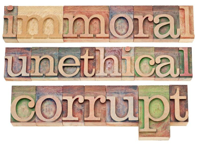 Inmoral, poco ético, corrupto imágenes de archivo libres de regalías