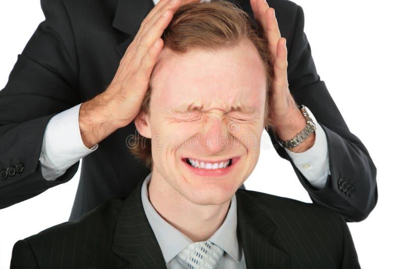 inna biznesmen głowa trzyma jeden zdjęcia stock