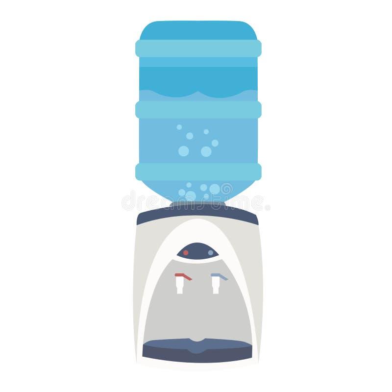 Innaffi l'attrezzatura blu piana del rubinetto del purificatore della bottiglia del dispositivo di raffreddamento dell'erogatore royalty illustrazione gratis