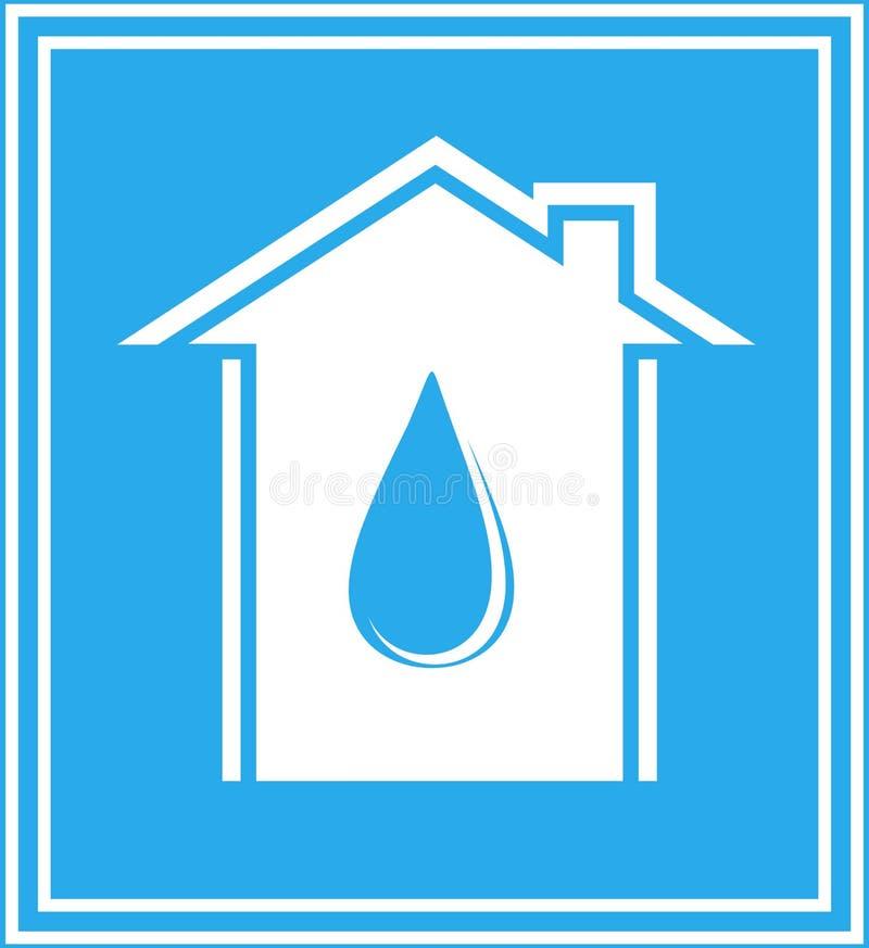Innaffi l'icona con la casa ed il calo nel blocco per grafici illustrazione di stock