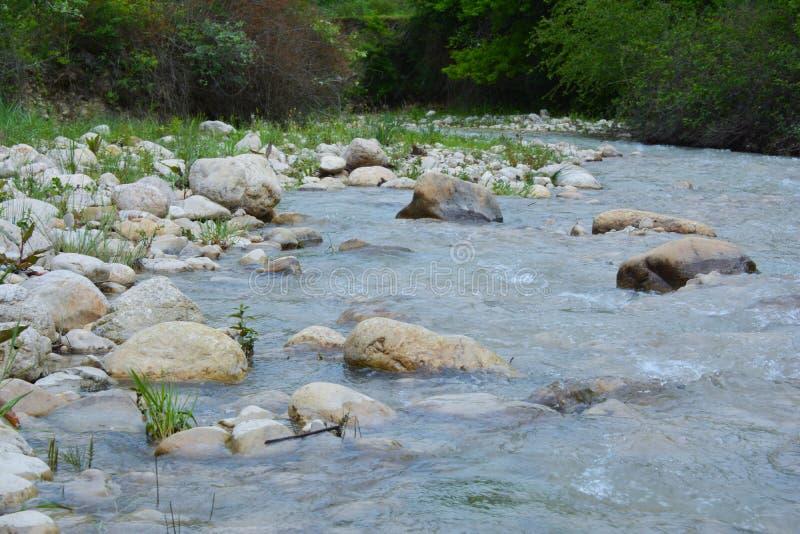 Innaffi la corrente, il fiume della montagna, grandi massi fotografia stock libera da diritti