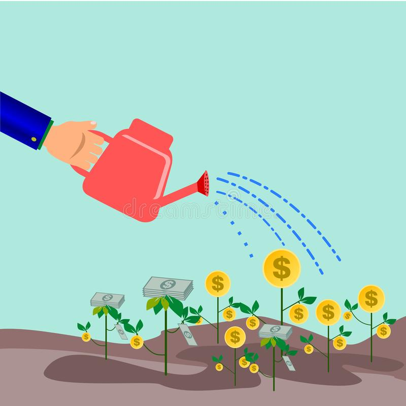 innaffiatura per crescere un albero della moneta e dei soldi di oro royalty illustrazione gratis