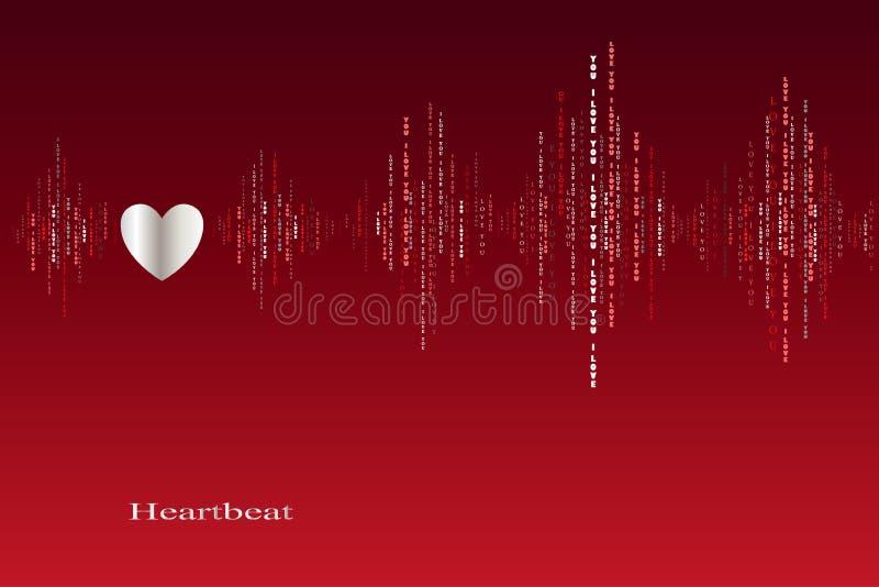 Innamori la progettazione del cardiogramma dei battiti cardiaci illustrazione vettoriale