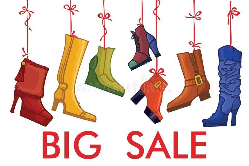Innegrej färgade kvinnors kängor, skor stor försäljning stock illustrationer