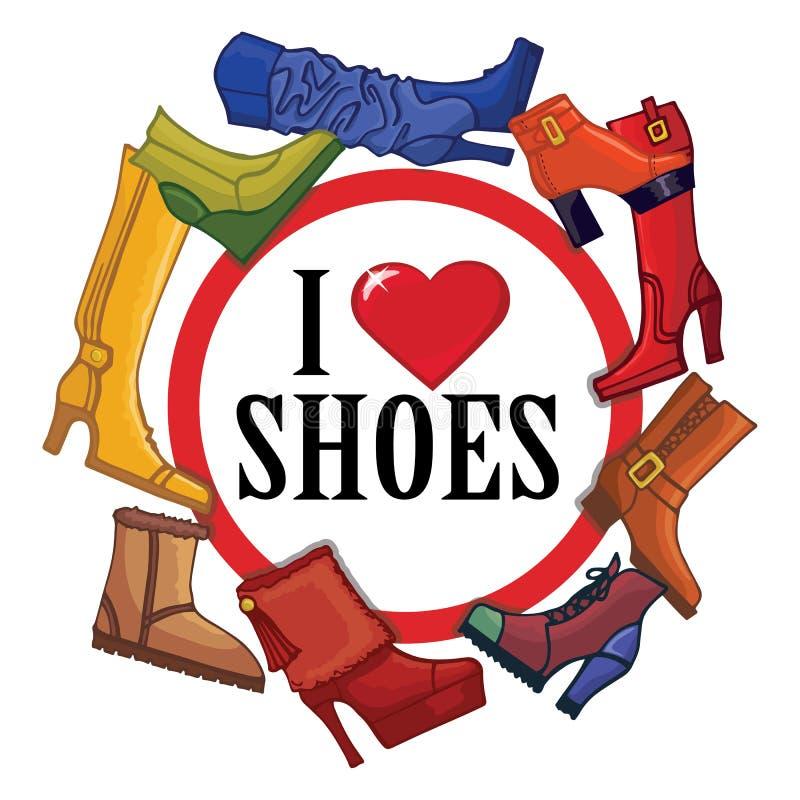 Innegrej färgade kvinnors kängor, skor Teckenförälskelse stock illustrationer