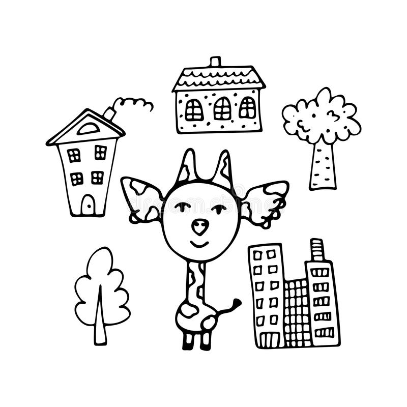 Innegrej hand-dragen giraff stadsinvånaren bland skyskrapa stock illustrationer