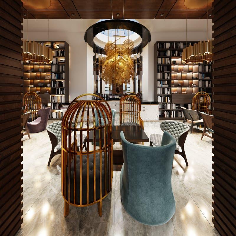 Innegrej i modern stilarkiv-stång i art décostil med elegant möblemang och bokhyllor royaltyfri illustrationer