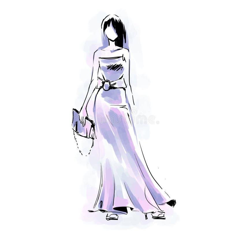 Innegrejen modellerar anseende på catwalk Modefria händervatten stock illustrationer