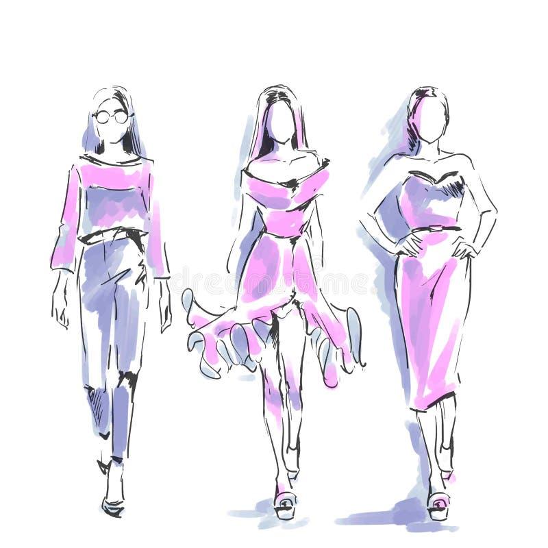 Innegrejen modellerar anseende på catwalk Modefria händervatten royaltyfri illustrationer