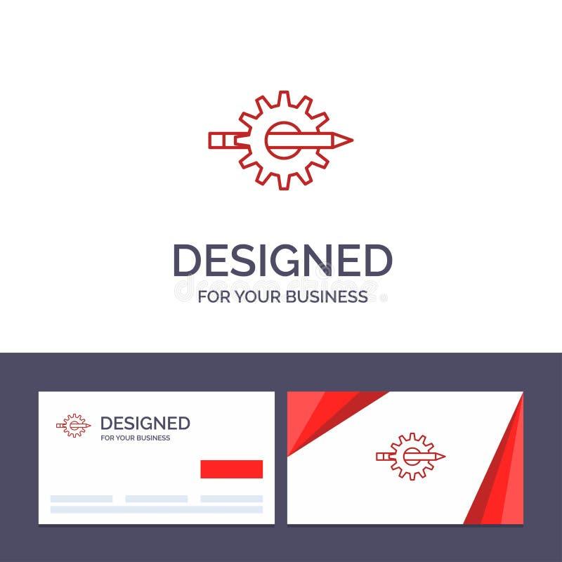 Innehåll för idérik mall för affärskort och logo, handstil, design, utveckling, kugghjul, produktionvektorillustration stock illustrationer