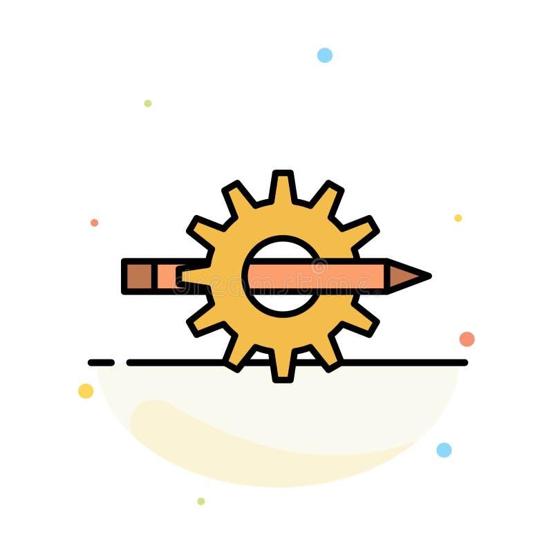 Innehåll handstil, design, utveckling, kugghjul, för färgsymbol för produktion abstrakt plan mall vektor illustrationer