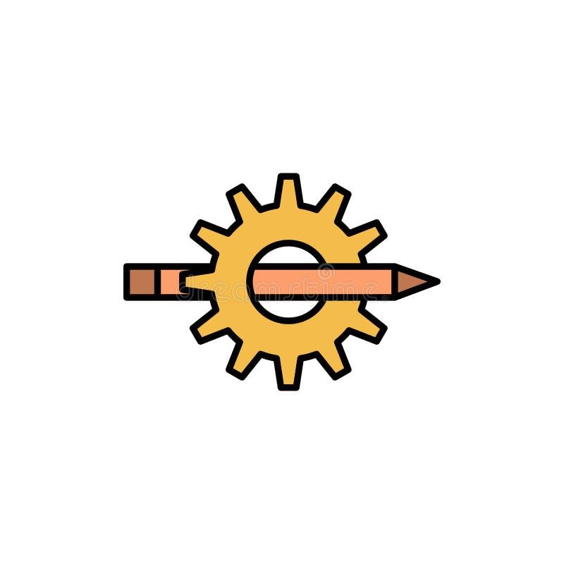 Innehåll handstil, design, utveckling, kugghjul, plan färgsymbol för produktion Mall för vektorsymbolsbaner royaltyfri illustrationer