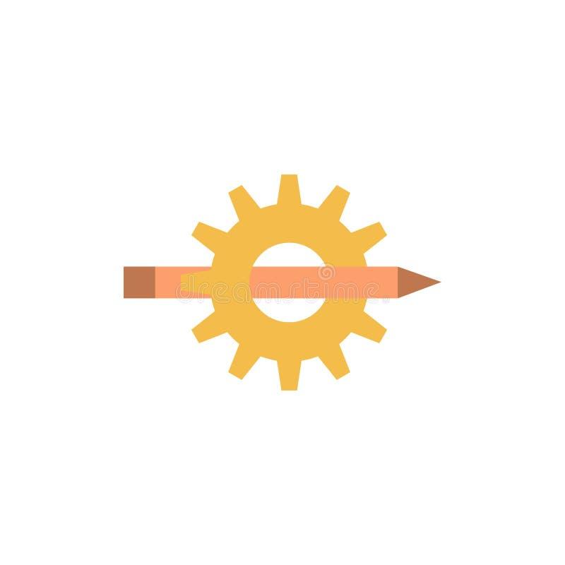 Innehåll handstil, design, utveckling, kugghjul, plan färgsymbol för produktion Mall för vektorsymbolsbaner vektor illustrationer