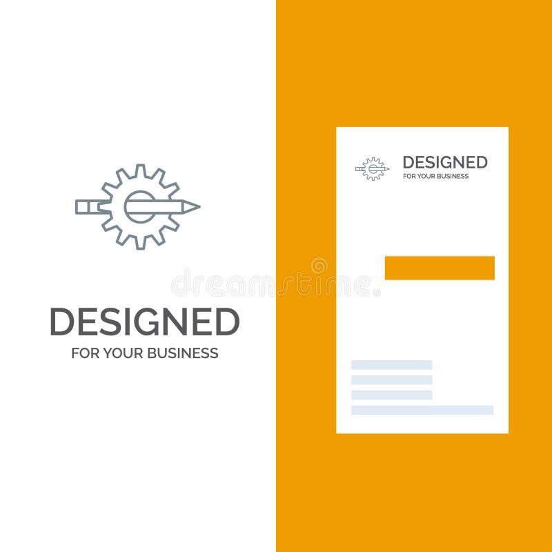 Innehåll, handstil, design, utveckling, kugghjul, produktion Grey Logo Design och mall för affärskort stock illustrationer