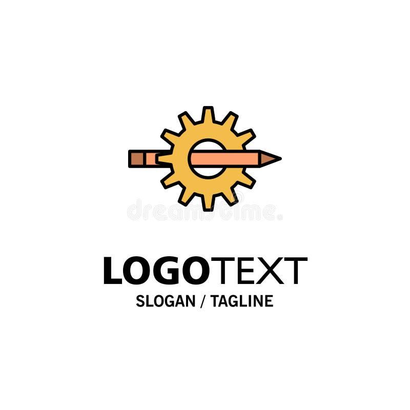 Innehåll handstil, design, utveckling, kugghjul, produktionaffär Logo Template plan f?rg royaltyfri illustrationer