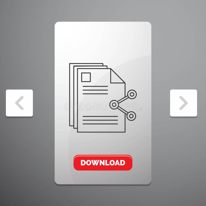 innehåll, mappar, dela, aktie, dokumentlinje symbol i design för Carousalpagineringsglidare & röd nedladdningknapp vektor illustrationer