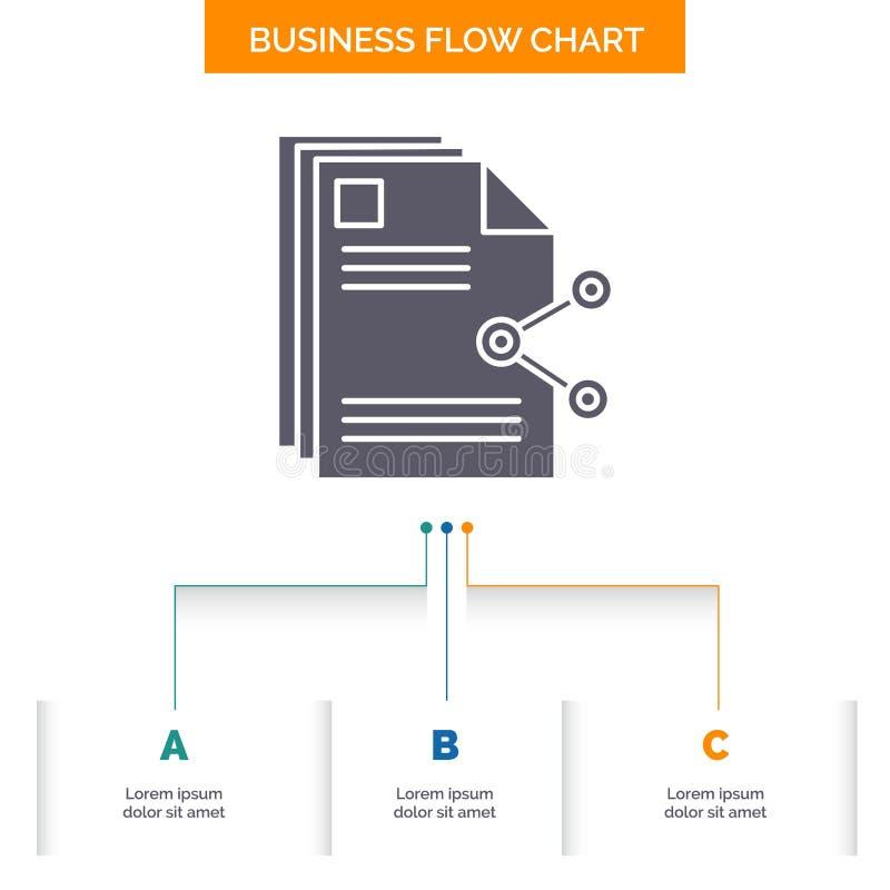 innehåll mappar som delar, aktie, design för diagram för dokumentaffärsflöde med 3 moment Sk?rasymbol f?r presentationsbakgrundsm vektor illustrationer